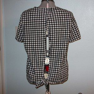 Anthro Pleione Size XL Plaid Open Back Blouse Top